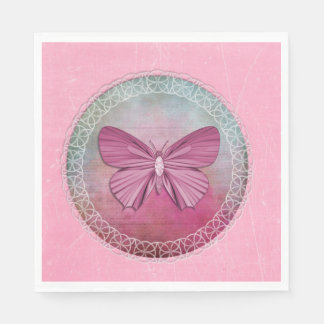 Elegant Butterfly Pink Party Napkins Paper Serviettes