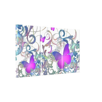 Elegant Butterfly Swirl (Rainbow Colors) Stretched Canvas Prints