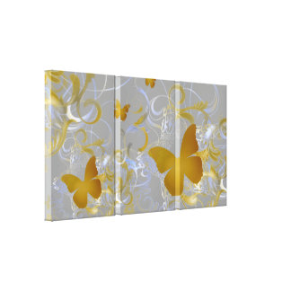Elegant Butterfly Swirl (Silver & Gold) Canvas Print