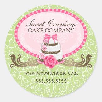 Elegant Cake and Swirls Bakery Stickers