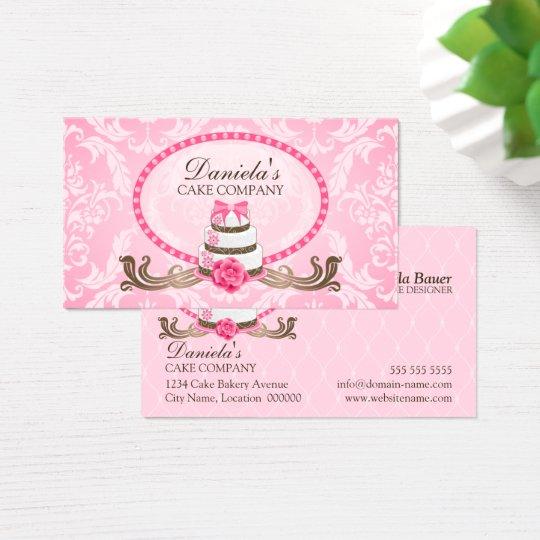 Elegant Cake Bakery Damask Business Cards