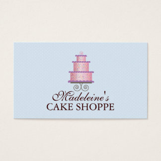 Elegant Cake in Pink Custom Bakery Business Card