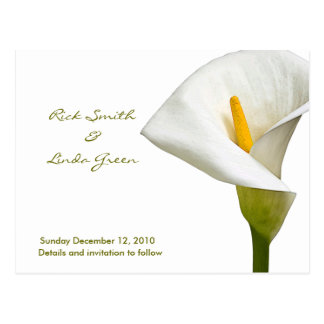 Elegant Cala Lily - Save the Date white Post Cards