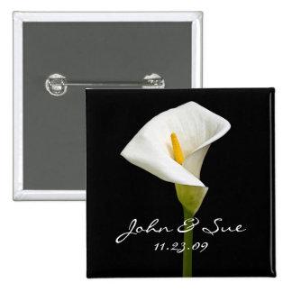 Elegant Cala Lily - Square Button
