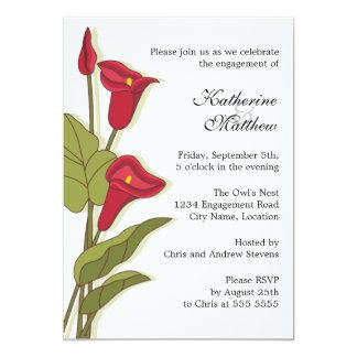 Elegant Calla Lily in Magenta Engagement Party 13 Cm X 18 Cm Invitation Card