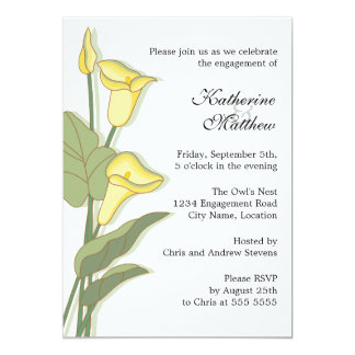 Elegant Calla Lily in Yellow Engagement Party 13 Cm X 18 Cm Invitation Card