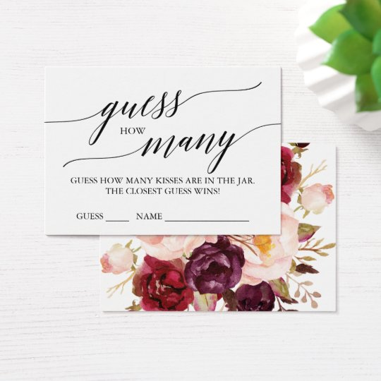 Elegant Calligraphy & Floral Guess How Many Kisses
