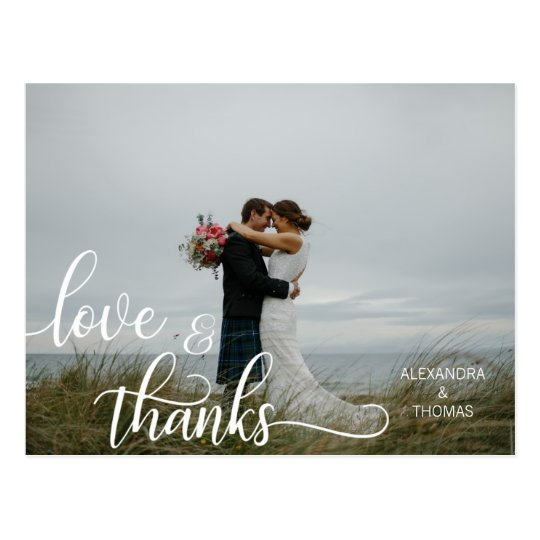 Elegant Calligraphy Script LOVE & THANKS w/ PHOTO