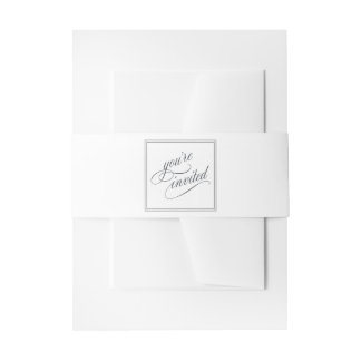 Elegant Calligraphy Script You're Invited Invitation Belly Band