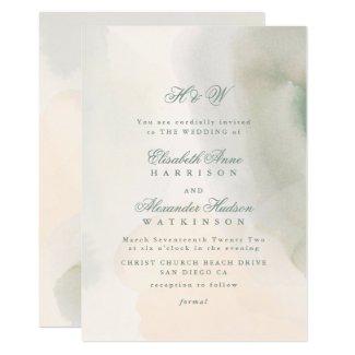 Elegant Calligraphy Soft Pastel Watercolor Wedding Invitation