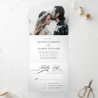 elegant calligraphy tri fold wedding invitation