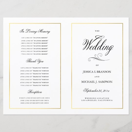 elegant calligraphy wedding program gold border zazzle co uk