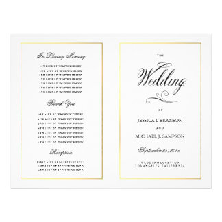 Elegant Calligraphy Wedding Program Gold Border Flyer