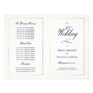 Elegant Calligraphy Wedding Program Gold Border Flyer