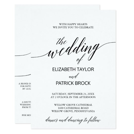 Elegant Calligraphy with Details on Back Wedding Card