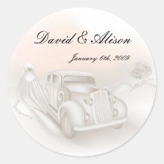 Elegant Car & Gown Wedding Stickers