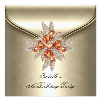 Elegant Caramel Beige Amber Birthday Party 13 Cm X 13 Cm Square Invitation Card