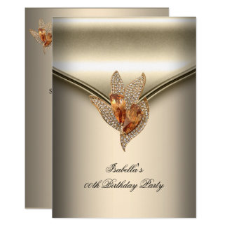 Elegant Caramel Beige Gold Birthday Party Card