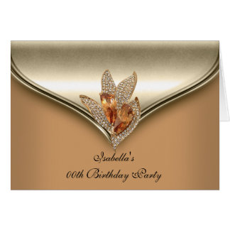 Elegant Caramel Beige Gold Birthday Party folded Greeting Card