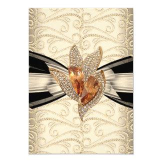 Elegant Caramel Cream Black Gold Amber 2 13 Cm X 18 Cm Invitation Card