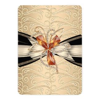 "Elegant Caramel Cream Black Gold Amber Jewel 5"" X 7"" Invitation Card"