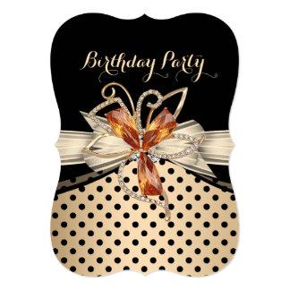 "Elegant Caramel Cream Black Polka Dot Gold 5"" X 7"" Invitation Card"