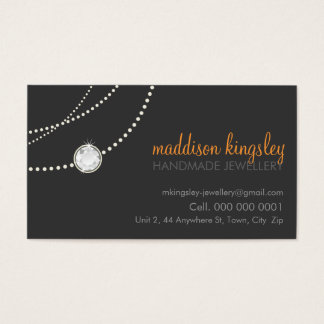 elegant card stylish necklace grey orange