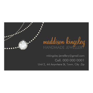 elegant card stylish necklace grey orange business card template