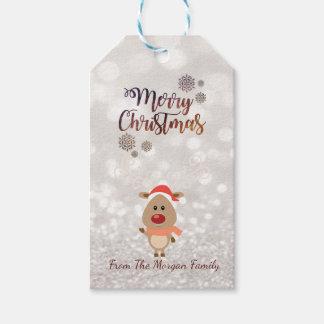 Elegant, Cartoon Reindeer,Glittery Bokeh Gift Tags
