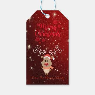 Elegant, Cartoon Reindeer,Red,Sparkles Gift Tags