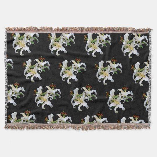 Elegant Casablanca White Oriental Lilies Throw Blanket