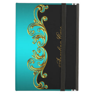 Elegant Case Teal Blue gold Black Cover For iPad Air