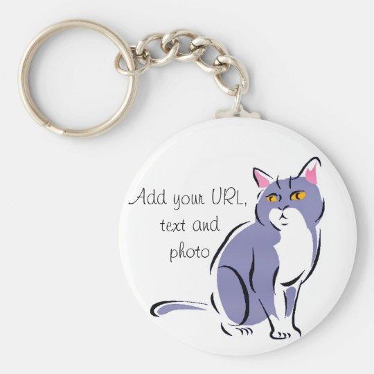 Elegant Cat Basic Round Button Key Ring