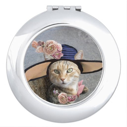 ELEGANT CAT WITH BIG DIVA HAT AND PINK ROSES TRAVEL MIRRORS