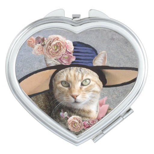 ELEGANT CAT WITH BIG DIVA HAT AND PINK ROSES COMPACT MIRRORS