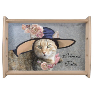 ELEGANT CAT WITH BIG DIVA HAT AND PINK ROSES FOOD TRAYS