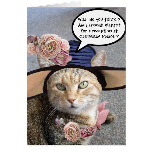 ELEGANT CAT WITH BIG DIVA HAT,PINK ROSES Birthday Greeting Cards