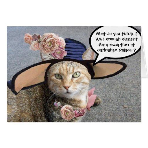 ELEGANT CAT WITH BIG DIVA HAT,PINK ROSES Birthday Greeting Card