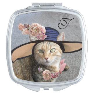 ELEGANT CAT WITH BIG DIVA HAT, PINK ROSES Monogram Travel Mirrors
