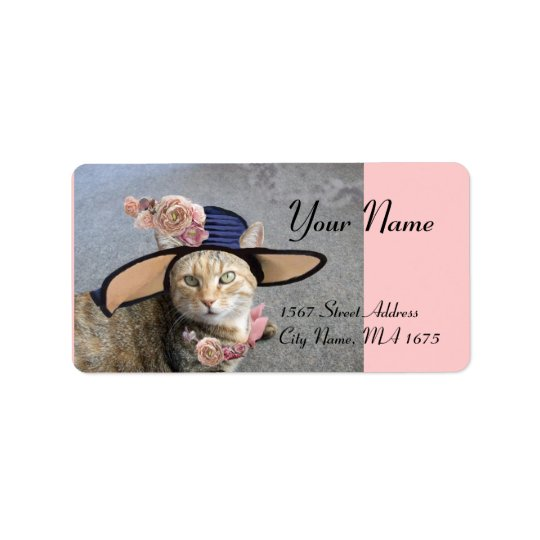 ELEGANT CAT WITH BIG DIVA HAT,PINK ROSES Valentine Address Label