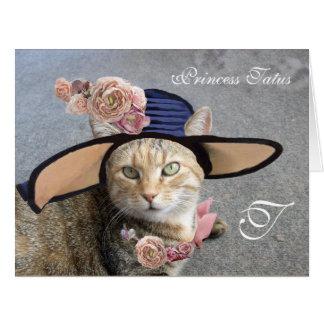 ELEGANT CAT WITH BIG DIVA HAT,PINK ROSES Valentine Big Greeting Card