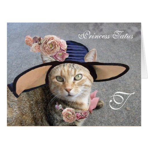 ELEGANT CAT WITH BIG DIVA HAT,PINK ROSES Valentine Greeting Card