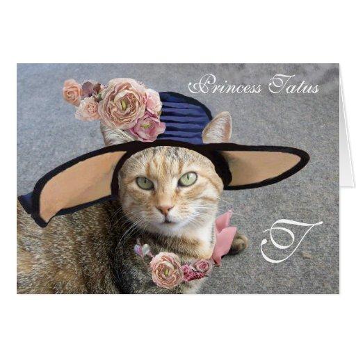 ELEGANT CAT WITH BIG DIVA HAT,PINK ROSES Valentine Cards