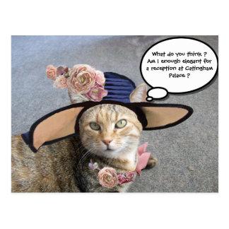ELEGANT CAT WITH BIG DIVA HAT,PINK ROSES Valentine Postcards