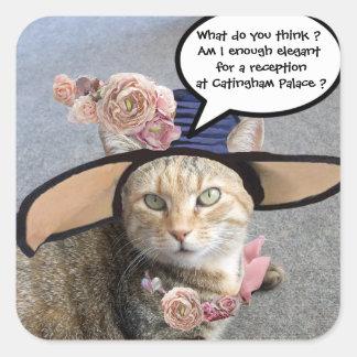 ELEGANT CAT WITH BIG DIVA HAT,PINK ROSES Valentine Square Stickers