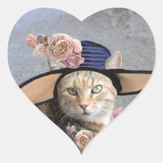 ELEGANT CAT WITH BIG DIVA HAT,PINK ROSES Valentine Stickers