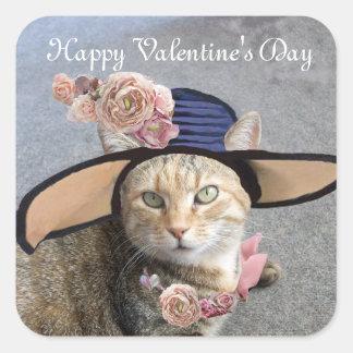 ELEGANT CAT WITH BIG DIVA HAT,PINK ROSES Valentine Square Sticker