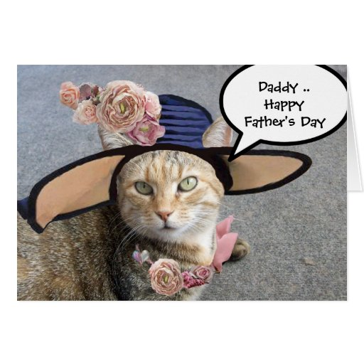 ELEGANT CAT WITH DIVA HAT,PINK ROSES Father's Day Card