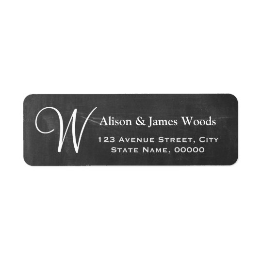 Elegant Chalkboard Blackboard Monogram Wedding Return Address Label