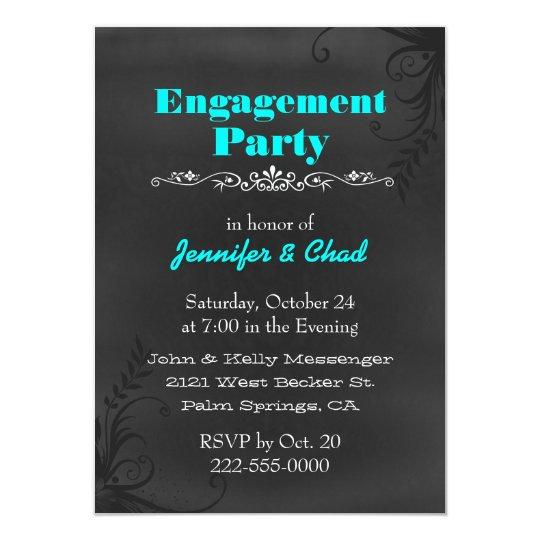 Elegant Chalkboard Engagement Party Custom Card